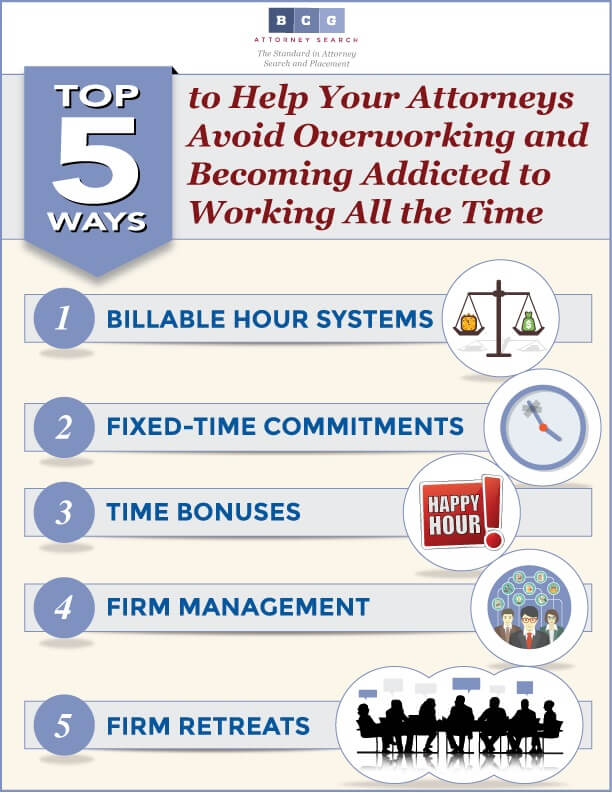 Top 5 Ways to Help Your Attorneys Avoid Overworking and Becoming Addicted to Working All the Time - Infographic